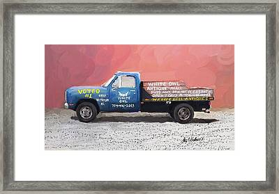 White Owl Truck Framed Print by Stacy C Bottoms