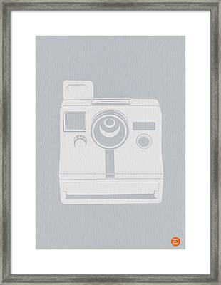 White Polaroid Camera Framed Print by Naxart Studio