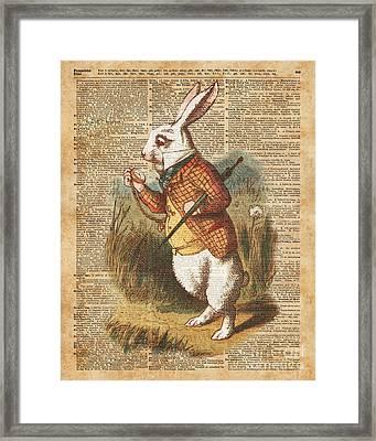 White Rabbit Alice In Wonderland Vintage Art Framed Print by Jacob Kuch
