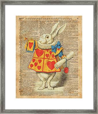 White Rabbit With Trumpet Alice In Wonderland Vintage Dictionary Artwork Framed Print by Jacob Kuch