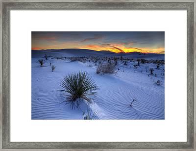 White Sands Sunset Framed Print by Peter Tellone