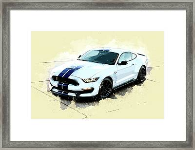 White Shelby Mustang Cobra Framed Print by Elaine Plesser