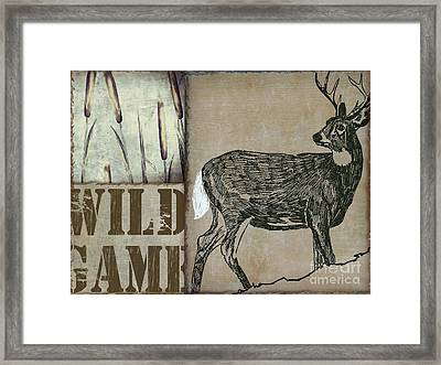 White Tail Deer Wild Game Rustic Cabin Framed Print by Mindy Sommers