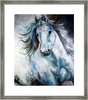 White Thunder Arabian Abstract Framed Print by Marcia Baldwin