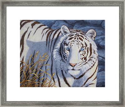 White Tiger - Crystal Eyes Framed Print by Crista Forest