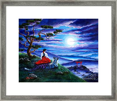 White Tiger Meditation Framed Print by Laura Iverson