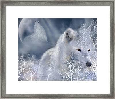 White Wolf Framed Print by Carol Cavalaris