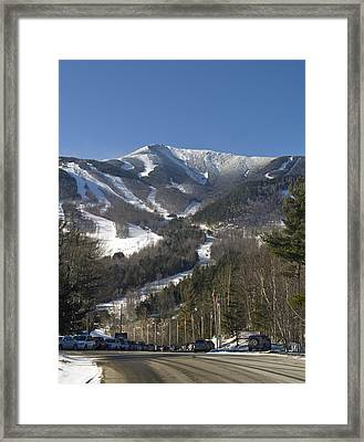 Whiteface Ski Mountain From The Road In Upstate New York Near Lake Placid Framed Print by Brendan Reals