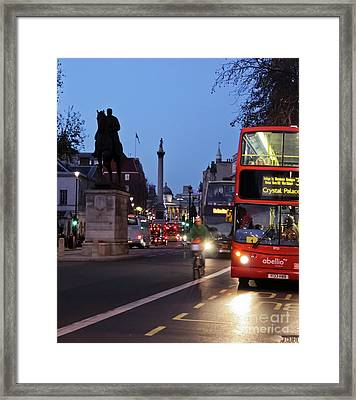 Whitehall To Trafalgar Square Framed Print by Terri Waters