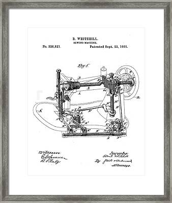 Whitehill Sewing Machine Patent 1885  Framed Print by Bill Cannon