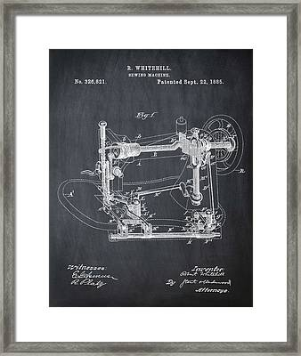 Whitehill Sewing Machine Patent 1885 Chalk Framed Print by Bill Cannon