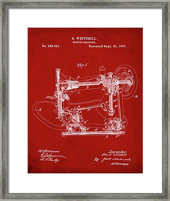 Whitehill Sewing Machine Patent 1885 Red Framed Print by Bill Cannon