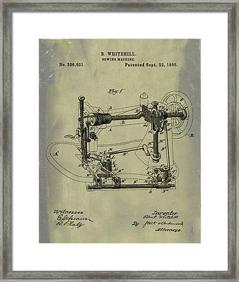 Whitehill Sewing Machine Patent 1885 Weathered Framed Print by Bill Cannon