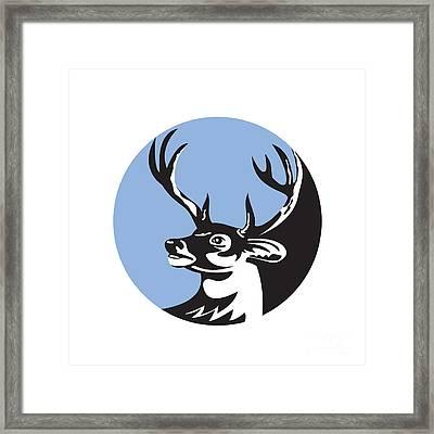 Whitetail Deer Buck Head Circle Retro Framed Print by Aloysius Patrimonio
