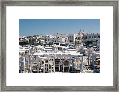 Whitewashed Naoussa Framed Print by Lorraine Devon Wilke