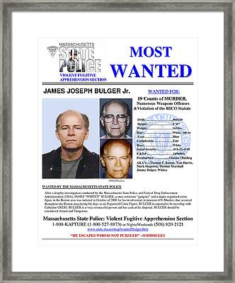 Whitey Bulger Wanted Massachusetts State Police Framed Print by Daniel Hagerman