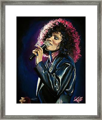 Whitney Houston Framed Print by Tom Carlton