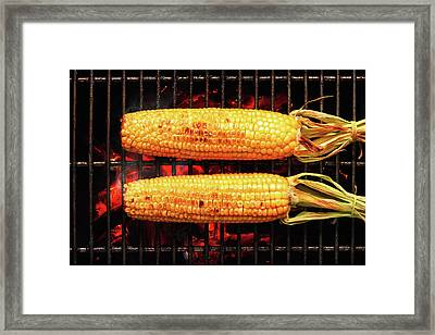Whole Corn On Grill Framed Print by Johan Swanepoel