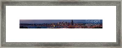 Wide Panorama Of The Seattle Skyline At Dusk Framed Print by Mike Reid