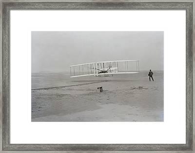 Wilbur Wright Runs Alongside As Orville Framed Print by Everett
