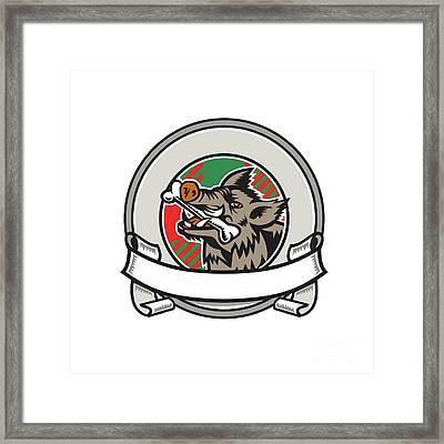 Wild Boar Razorback Bone In Mouth Circle Ribbon Retro Framed Print by Aloysius Patrimonio