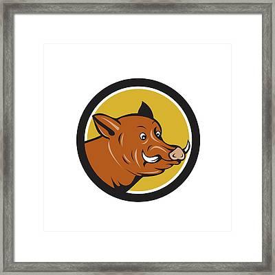 Wild Boar Razorback Head Startled Circle Cartoon Framed Print by Aloysius Patrimonio