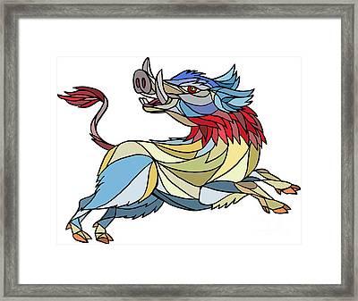 Wild Boar Razorback Prancing Mosaic Framed Print by Aloysius Patrimonio