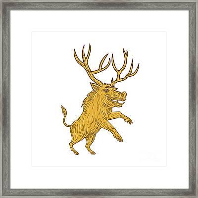Wild Boar Razorback With Antlers Prancing Drawing Framed Print by Aloysius Patrimonio