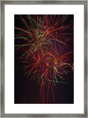 Wild Colorful Fireworks Framed Print by Garry Gay