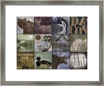 Wild Game Patchwork II Framed Print by Mindy Sommers