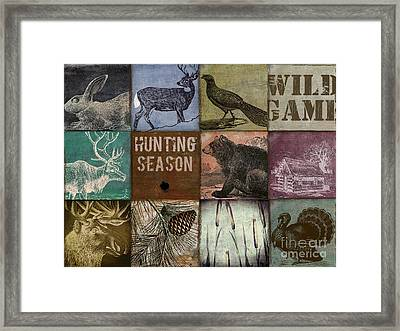Wild Game Patchwork Framed Print by Mindy Sommers