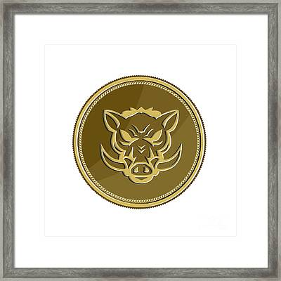 Wild Hog Head Angry Gold Coin Retro Framed Print by Aloysius Patrimonio