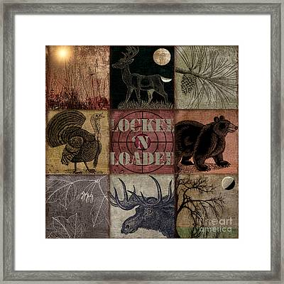 Wild Life Rustic Cabin Patchwork Framed Print by Mindy Sommers