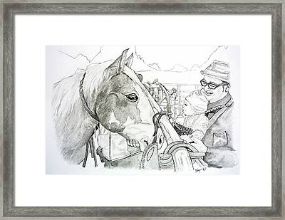 Wild Mustang Meets Baby Framed Print by Gregory Hayes