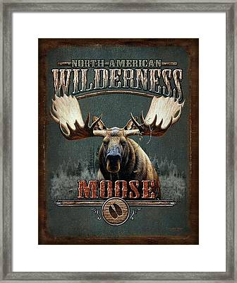 Wilderness Moose Framed Print by JQ Licensing