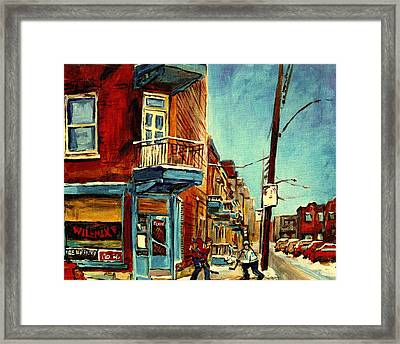 Wilensky's Corner Fairmount And Clark Framed Print by Carole Spandau