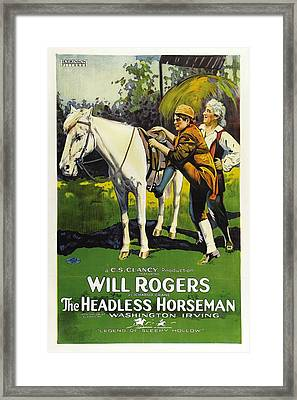 Will Rogers In The Headless Horseman 1922 Framed Print by Mountain Dreams
