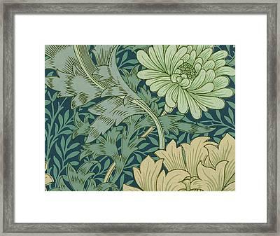 William Morris Wallpaper Sample With Chrysanthemum Framed Print by William Morris