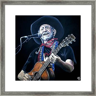 Willie Nelson 2 Framed Print by Tom Carlton