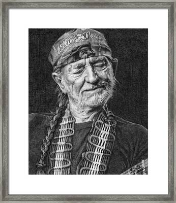 Willie Nelson Framed Print by Michelle Flanagan