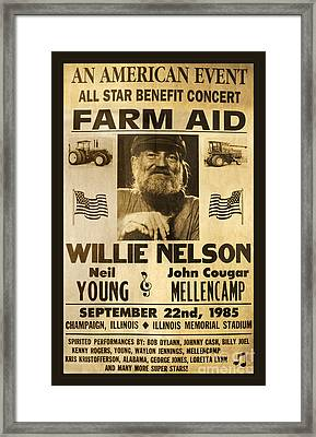 Willie Nelson Neil Young 1985 Farm Aid Poster Framed Print by John Stephens