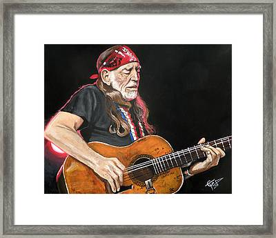 Willie Nelson Framed Print by Tom Carlton