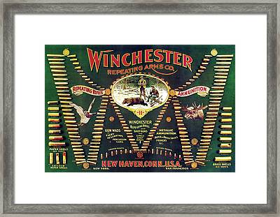Winchester Double W Cartridge Board Framed Print by Unknown