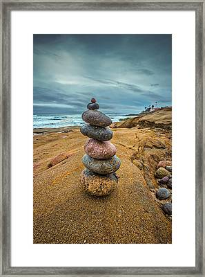 Windansea Cairn Framed Print by Peter Tellone
