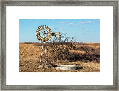 Windmill And Water Tank Framed Print by Paul Freidlund