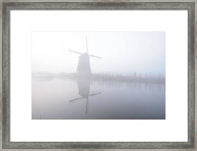 Windmill Reflection Framed Print by Phyllis Peterson
