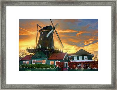 Windmill Sunset Framed Print by Nadia Sanowar