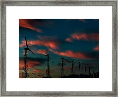 Windmills At Sunrise Framed Print by Chris Tarpening