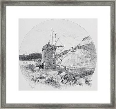 Windmills, Ithaca, Ionian Islands Framed Print by Vintage Design Pics
