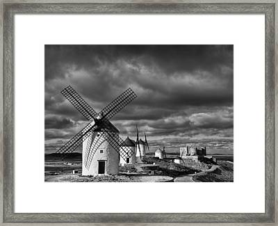 Windmills With Castle, Consuegra Framed Print by Cesar March
